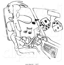 cartoon car black and white vector of cartoon man listing to tunes in his car coloring page