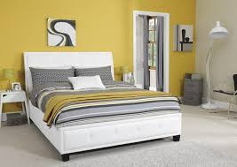 Faux Bed Frame Serene Catania 5ft King Size White Faux Leather Bed Frame By