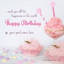 birthday cake name editor online application wishes greeting card