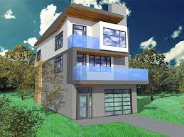 narrow lot house plan 056h 0005 modern too busy but good