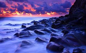 seascape wallpapers sunsets fog ocean rocks sea seascape sky blue sunset hd wallpaper
