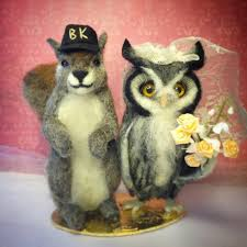 squirrel cake topper facci designs squirrel and owl custom wedding cake topper