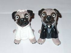perky pug dogs wedding cake topper clay handmade by pawsnclaws