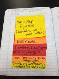 multi step equations variables on both sides foldable math