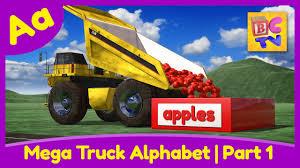 monster trucks videos on youtube mega truck alphabet part 1 learn abcs with monster trucks u0026 dump