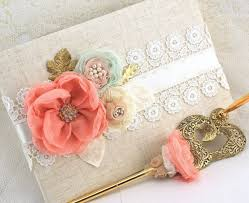 bridal guest book wedding guest book and pen set large shabby chic in coral mint