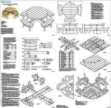 Building Plans For Hexagon Picnic Table by Round Picnic Table With Benches