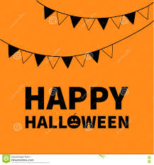 Triangle Paper Flags Happy Halloween Lettering Text Banner With