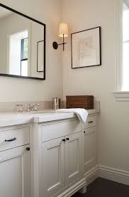 Black Mirror Bathroom Bathroom Vanity With Bronze Knobs Transitional Bathroom