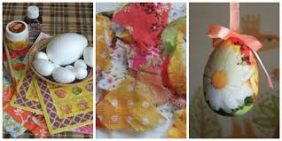 diy easter craft ideas styrofoam eggs hanging ornaments napkin