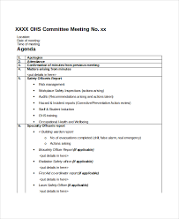 committee report template committee meeting agenda template