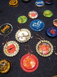 coasters and bottle cap ornaments for the tree cheers beers