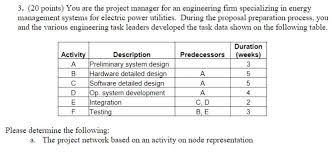 hardware design proposal solved 3 20 points you are the project manager for an