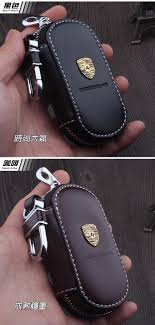 classic hand ring holder images Leather car keychain key fob case cover for porsche cayenne macan jpg