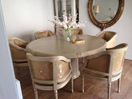 laura ashley large french circular shabby chic dining table u0026 6