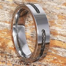 steel titanium rings images Corvus men 39 s black steel cable inlay rings forever metals jpg
