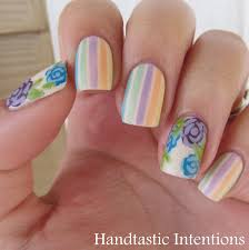 handtastic intentions nail art pastel stripes and flowers