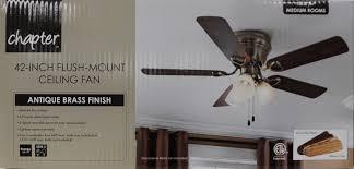 42 inch flush mount ceiling fan chapter 42 3 light antique brass ceiling fan walmart com