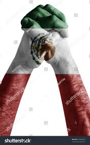 Colors Of The Mexican Flag Fist Painted Colors Mexico Flag Fist Stock Photo 750838075