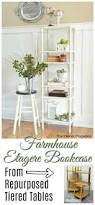 Etagere Bookshelf Farmhouse Etagere Bookcase From Repurposed Tiered Tables The