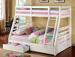 Bunk Beds With Storage Drawers by Bedroom Pink And White Solid Wood Bunk Bed For Bedroom With