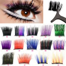 halloween eyelashes 4pcs crazy colorful 3d magnetic false eyelashes reusable eye lash
