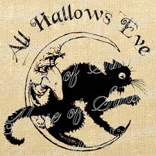 halloween tea towels halloween cat moon all hallows eve vintage download graphic