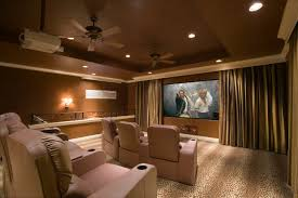 Home Theater Showing Beige Fabric Seat On Beige Carpet Addded By - Living room home theater design
