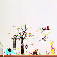 amazon com jungle zoo animal monkey owl and girafee playing amazon com jungle zoo animal monkey owl and girafee playing around colorful tree monkey wall decal owl wall sticker home kitchen