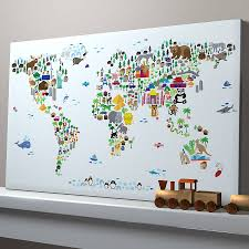 Personalized World Map by Animal World Map Print Colorful Animals Ivory And Animal