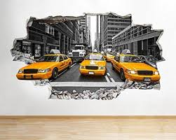 z077 new york city nyc yellow cab america wall decal poster 3d art z077 new york city nyc yellow cab america wall decal poster 3d art stickers room medium 52x30cm by tekkdesigns