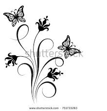 decorative floral corner ornament flowers butterfly stock vector
