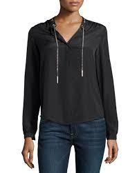 michael kors blouses michael michael kors chain detail sleeve blouse black