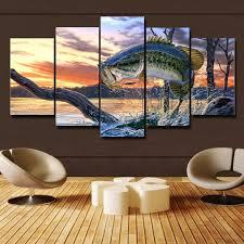 bass fishing home decor free shipping 5 panels bass fishing canvas painting home decor for