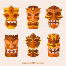 ornamental tiki mask vector free