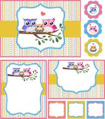 owl baby shower invitation card set stock vector pauljune