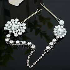hair brooch women hair wedding party jewelry rhinestone flower