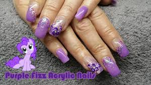 how to purple fizz acrylic nails glitter acrylic prom nails