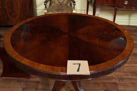 Large Round Solid Walnut Dining Table With Hidden Leaves 64 To 84 44 Round Dining Table With Leaf About 44 Round Dining Table With