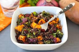 quinoa salad with sweet potatoes kale dried cranberries two