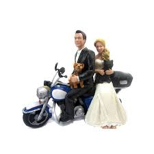 motorcycle wedding cake toppers causual and groom motorcycle wedding cake toppers with a dog