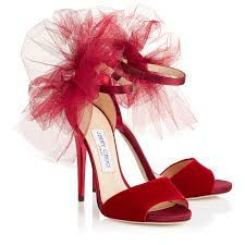 red velvet satin and mirror leather peep toe sandals with tulle