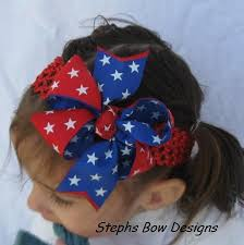 fourth of july hair bows white blue infant hair bow stephs bow designs