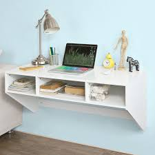 amazon com haotian white wall mounted table desk with 3 drawers
