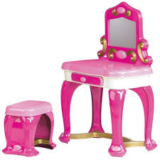 Wooden Girls Vanity Furniture White Wooden Girls Vanity Set With Round Mirror And