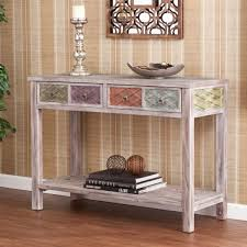 Hallway Table Attractive White Hallway Table With Drawers And Satin Nickel Ring