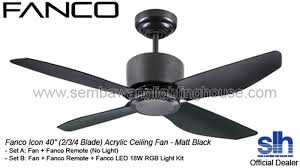 led ceiling fan with remote fanco icon 40 48 acrylic ceiling fan matt black sembawang