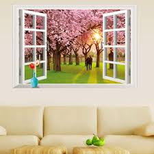 zy9234e new romantic cherry tree 3d false windows bedroom wall zy9234e new romantic cherry tree 3d false windows bedroom wall stickers can remove waterproof hot selling polka dot wall decals pretty wall decals from