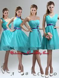 unique one shoulder ruches teal dama dresses with belt 69 79