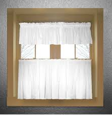 White Cafe Curtains Bright White Color Tier Kitchen Curtain Two Panel Set
